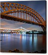 Hell Gate And Triboro Bridge By Night Canvas Print