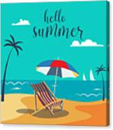 Hello Summer Poster. Tropical Beach Canvas Print