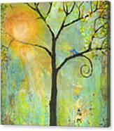 Hello Sunshine Tree Birds Sun Art Print Canvas Print