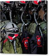Helmets And Flight Gear Of Hellenic Air Canvas Print