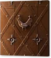 Hen Shaped Doorknob On A Brown Metal Doors Canvas Print