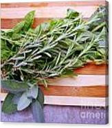 Herbs On Cutting Board Canvas Print