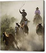 Herding Horses Oregon Canvas Print
