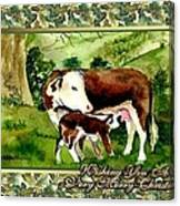 Hereford Cow And Calf Blank Christmas Card Canvas Print