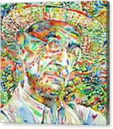 Hermann Hesse With Hat Watercolor Portrait Canvas Print