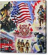 Heroes American Firefighters Canvas Print