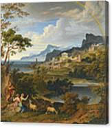 Heroic Landscape With Rainbow Canvas Print