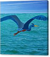 Heron Flying Over Ocean Canvas Print