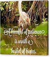 Heron With Quote Photograph  Canvas Print