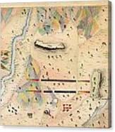 Herreras Map Of A Mexican War Campaign 1848 Canvas Print