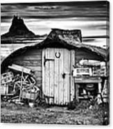 Herring Boat Hut Lindisfarne Monochrome Canvas Print