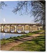 Hexham Bridge And Riverside Path Canvas Print