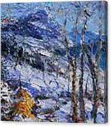 Heystack In The Snow Canvas Print