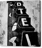 Hi-lander Motel Variation Black And White Canvas Print