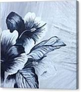 Hibiscus  Black And White Canvas Print
