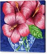 Hibiscus In Glass Vase Canvas Print