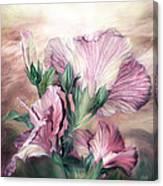 Hibiscus Sky - Pastel Pink Tones Canvas Print