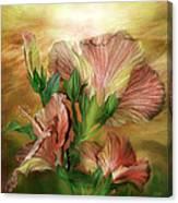 Hibiscus Sky - Peach And Yellow Tones Canvas Print