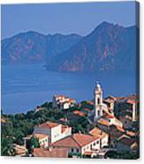 High Angle View Of A Town At The Coast Canvas Print