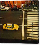 High Angle View Of Cars At A Zebra Canvas Print