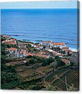 High Angle View Of Houses At A Coast Canvas Print