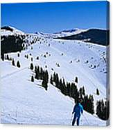 High Angle View Of Skiers Skiing, Vail Canvas Print