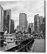 high rise apartment condo blocks in the west end coal harbour marina Vancouver BC Canada Canvas Print