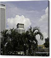 High Rise Buildings Behind Trees Along With Construction Work In Singapore Canvas Print