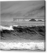 High Seas By The Pier Canvas Print