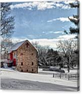 Highland Farms In The Snow Canvas Print