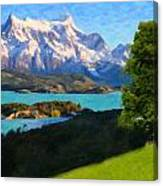 Highlands Of Chile  Lago Pehoe In Torres Del Paine Chile Canvas Print