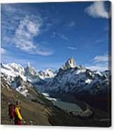 Hiker Admiring Cerro Torre And Fitzroy Canvas Print