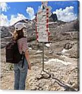 Hiker And Directions Canvas Print