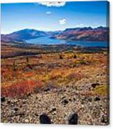 Hiker In Fall-colored Tundra Canvas Print