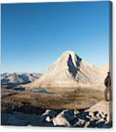 Hiker Looking Over Royce Lakes Canvas Print