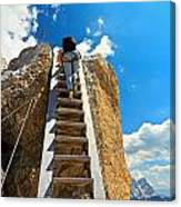 Hiker On Wooden Staircase Canvas Print