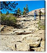 Hikers On Sentinel Dome Trail In Yosemite Np-ca  Canvas Print
