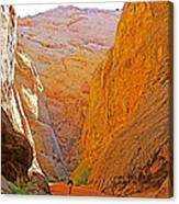 Hiking In Grand Wash In Capitol Reef National Park-utah Canvas Print