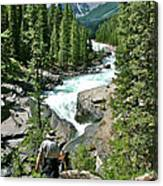 Hiking In Mistaya Canyon Along Icefield Parkway In Alberta Canvas Print