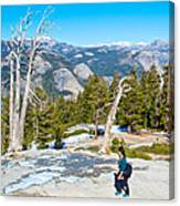 Hiking On Barren Rock On Sentinel Dome In Yosemite Np-ca Canvas Print