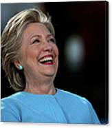 Hillary Clinton Is Joined By Maggie Canvas Print