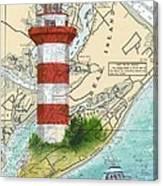 Hilton Head Island Lighthouse Sc Nautical Chart Map Art Cathy Peek Canvas Print
