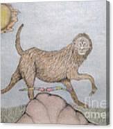 Himalaya Monkey Dragonfly Encounter Canvas Print