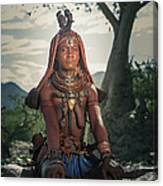 Himba Woman With Traditional Hair Dress Canvas Print