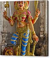 Hindu Goddess Durga On Lion Canvas Print