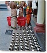 Hindu Priests Prepare Offering To Gods Canvas Print