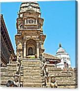 Hindu Temples In Bhaktapur Durbar Square In Bhaktapur-nepal Canvas Print