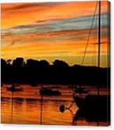 Hingham Sunset And Sailboats Canvas Print