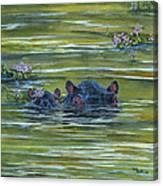 Hippos And Hyacinths Canvas Print