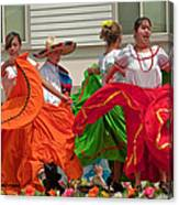 Hispanic Women Dancing In Colorful Skirts Art Prints Canvas Print